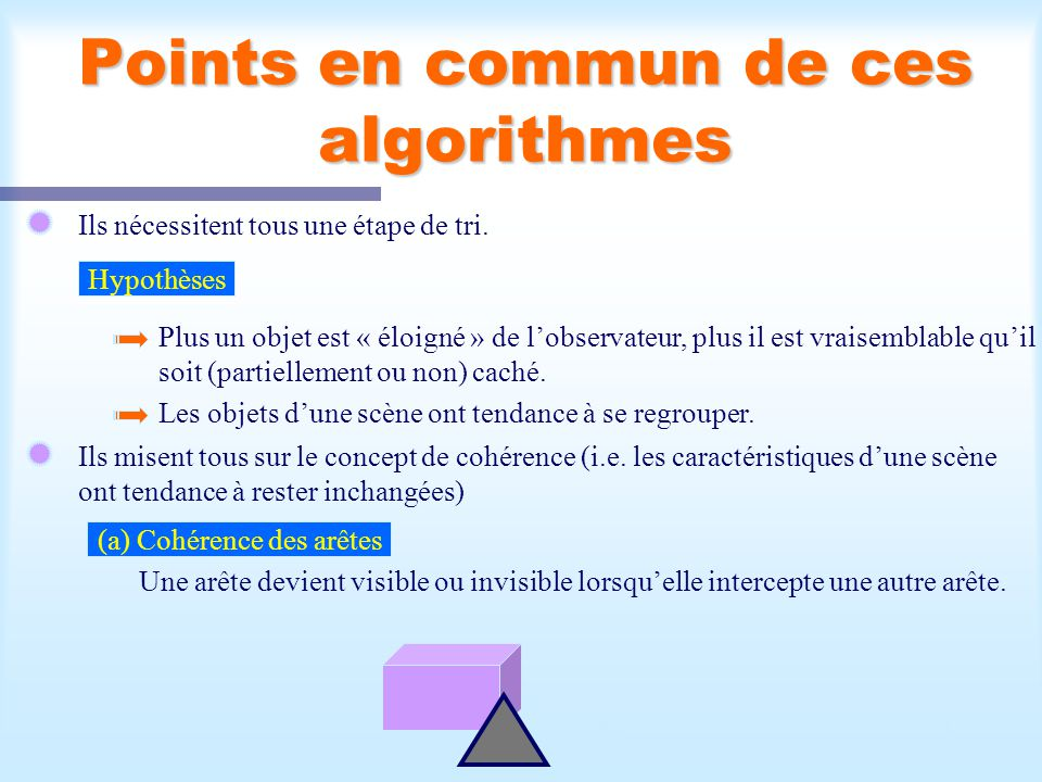 Points en commun de ces algorithmes