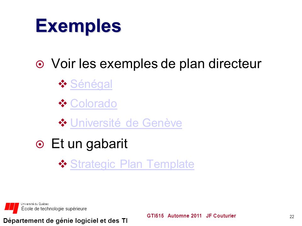 Exemples Voir les exemples de plan directeur Et un gabarit Sénégal