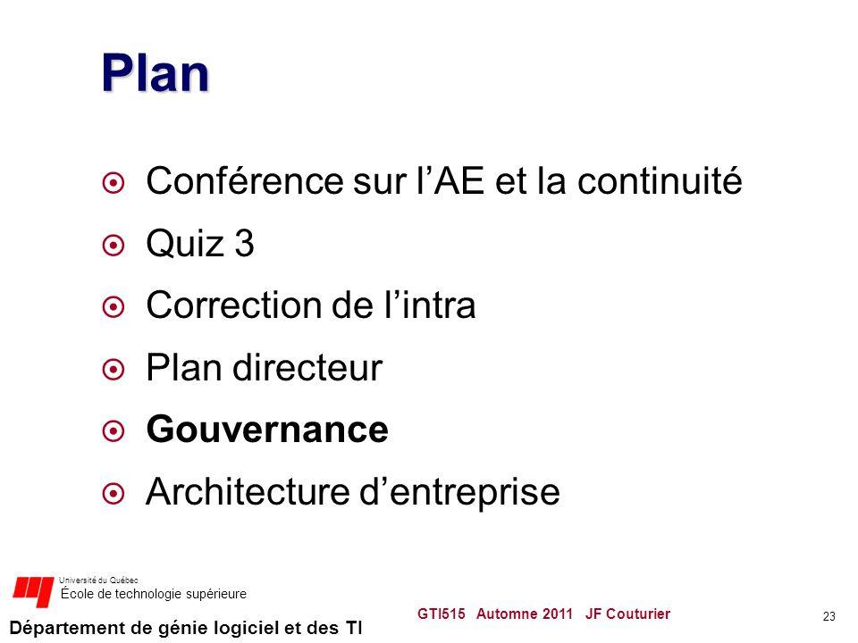Plan Conférence sur l'AE et la continuité Quiz 3 Correction de l'intra