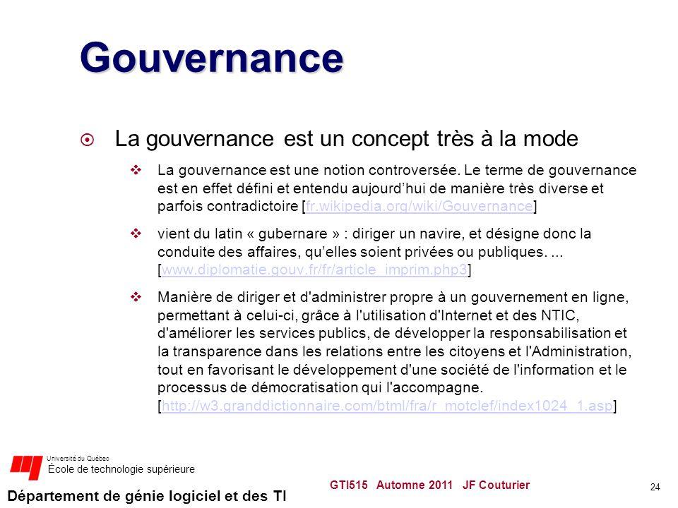 Gouvernance La gouvernance est un concept très à la mode