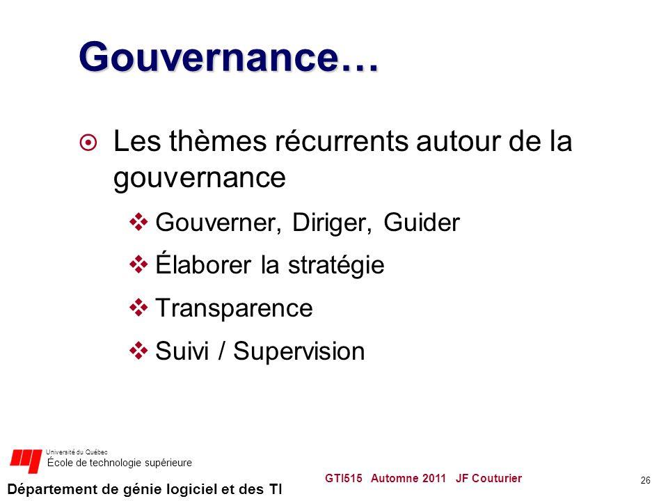 Gouvernance… Les thèmes récurrents autour de la gouvernance