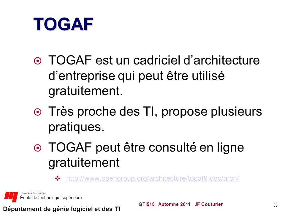 TOGAF TOGAF est un cadriciel d'architecture d'entreprise qui peut être utilisé gratuitement. Très proche des TI, propose plusieurs pratiques.