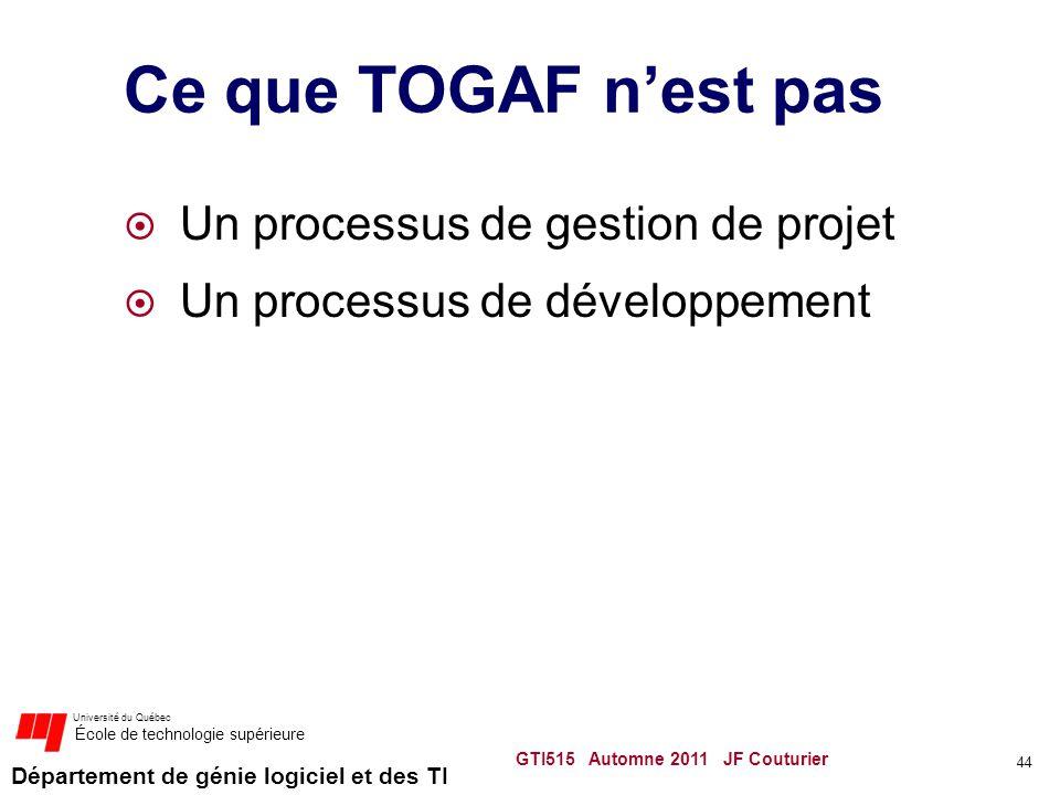 Ce que TOGAF n'est pas Un processus de gestion de projet