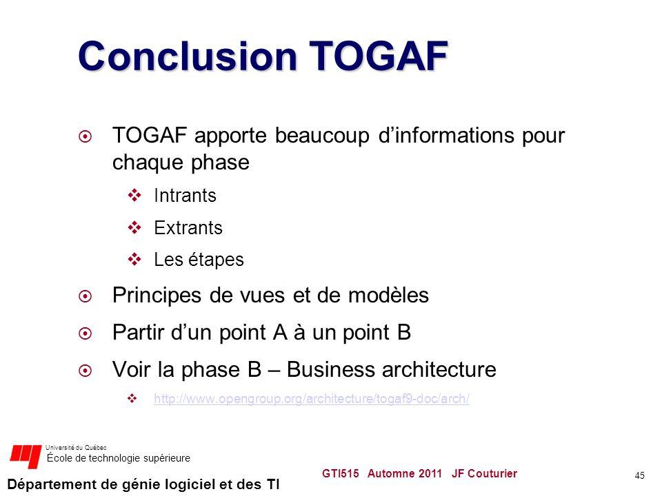 Conclusion TOGAF TOGAF apporte beaucoup d'informations pour chaque phase. Intrants. Extrants. Les étapes.