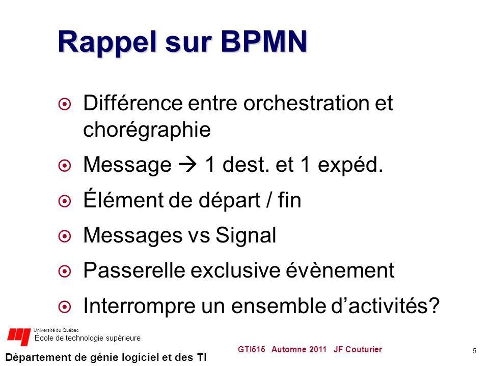 Rappel sur BPMN Différence entre orchestration et chorégraphie