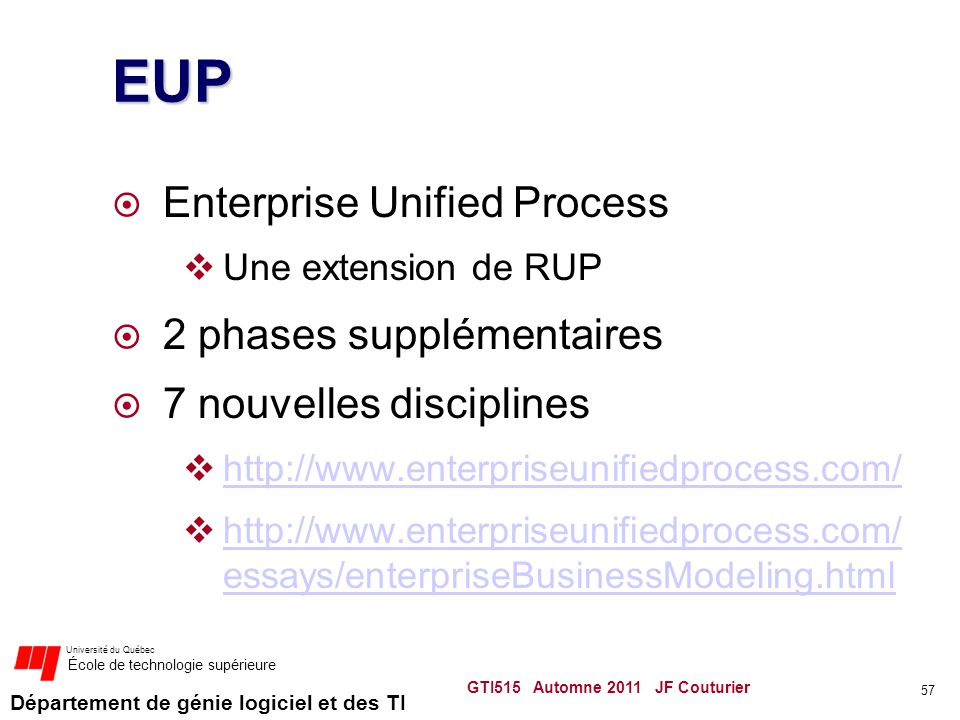 EUP Enterprise Unified Process 2 phases supplémentaires