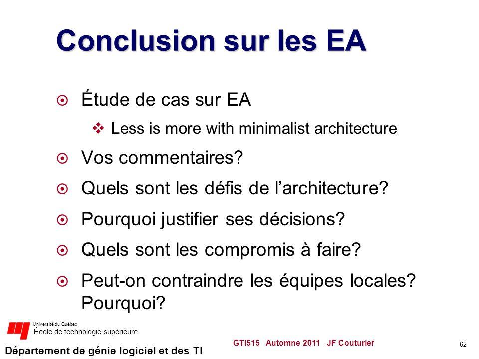 Conclusion sur les EA Étude de cas sur EA Vos commentaires