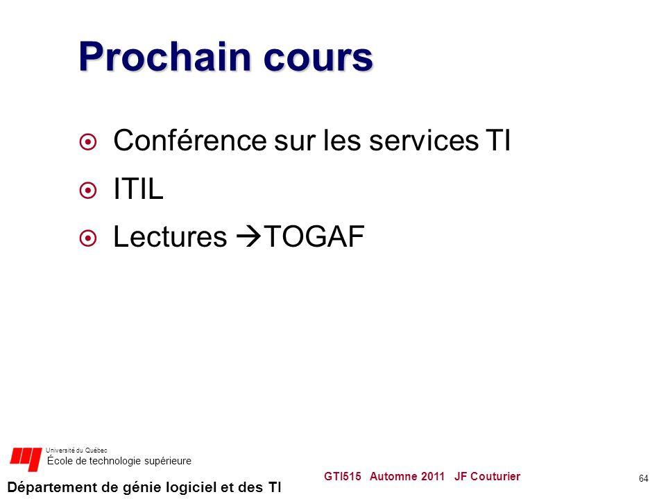 Prochain cours Conférence sur les services TI ITIL Lectures TOGAF