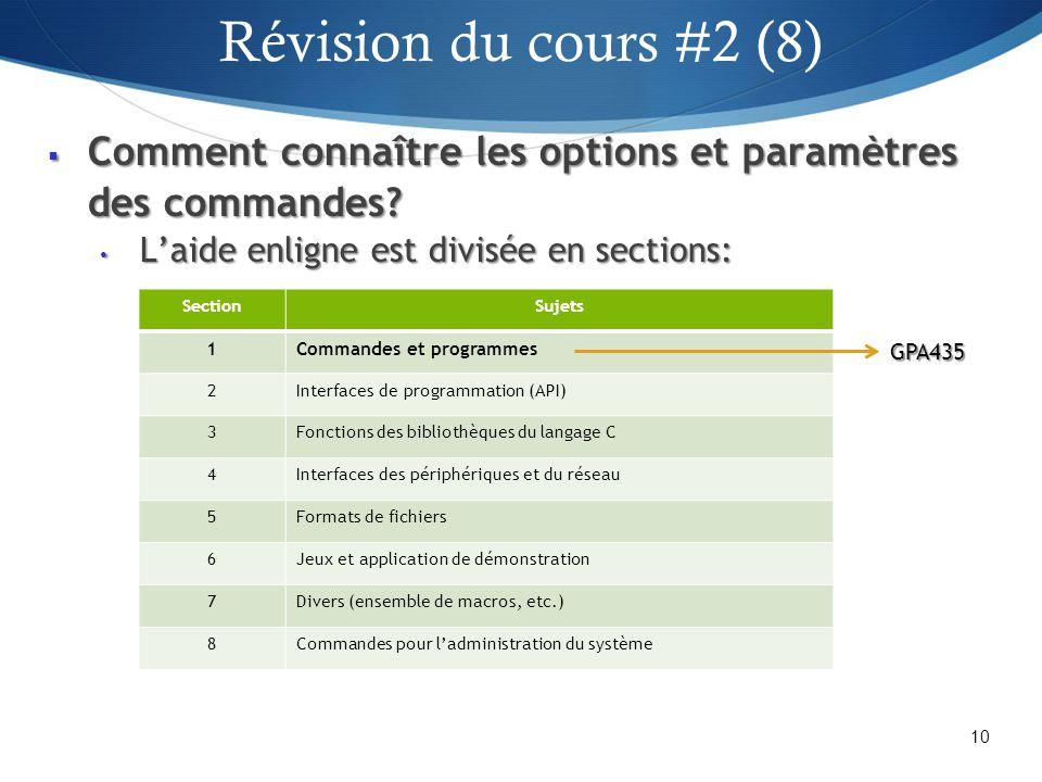 Révision du cours #2 (8) Comment connaître les options et paramètres des commandes L'aide enligne est divisée en sections: