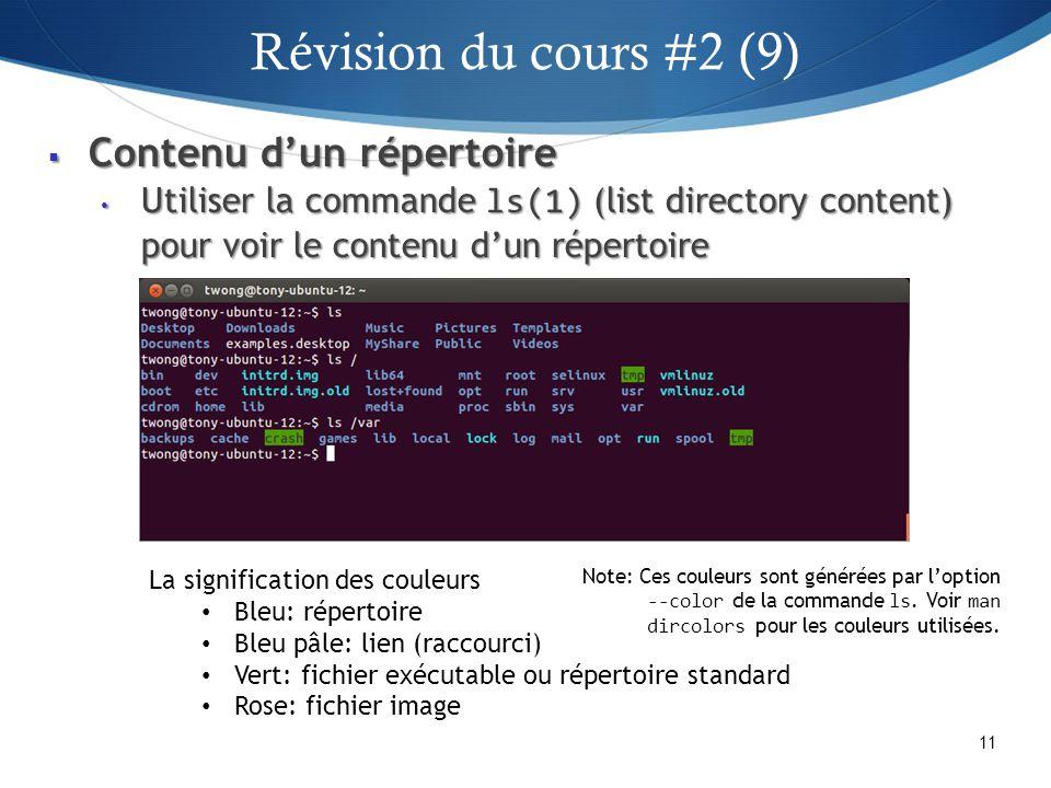 Révision du cours #2 (9) Contenu d'un répertoire
