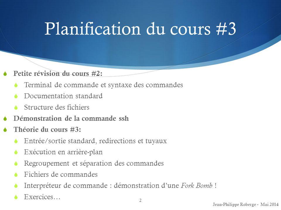 Planification du cours #3