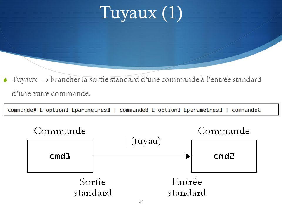 Tuyaux (1) Tuyaux  brancher la sortie standard d'une commande à l'entrée standard d'une autre commande.