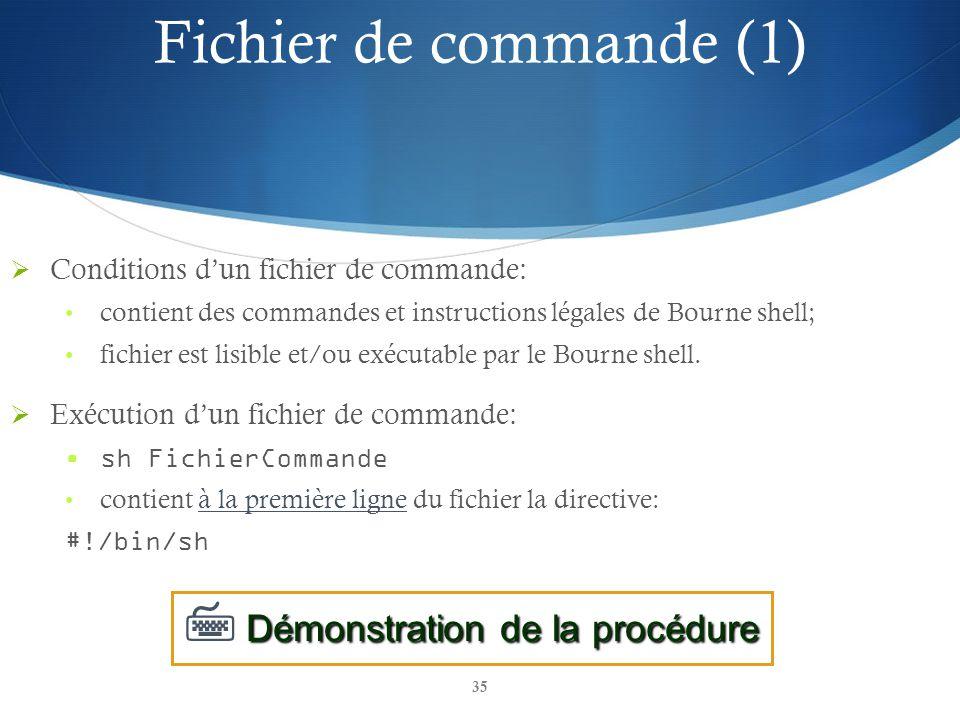 Fichier de commande (1)  Démonstration de la procédure