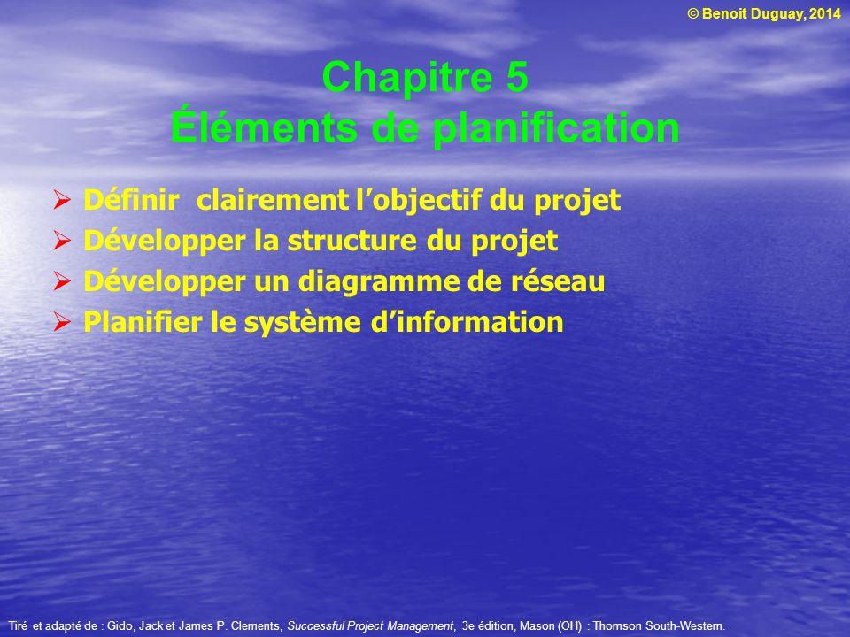 Chapitre 5 Éléments de planification