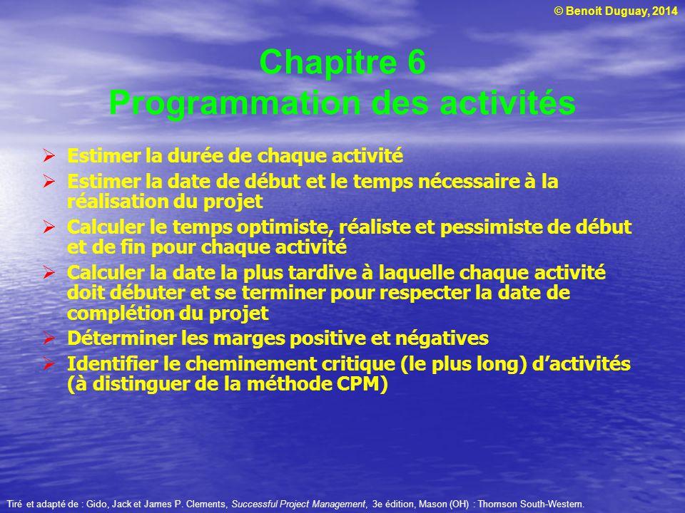 Chapitre 6 Programmation des activités