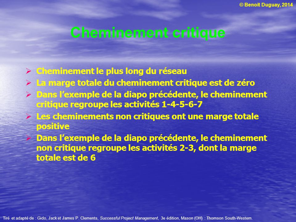 Cheminement critique Cheminement le plus long du réseau
