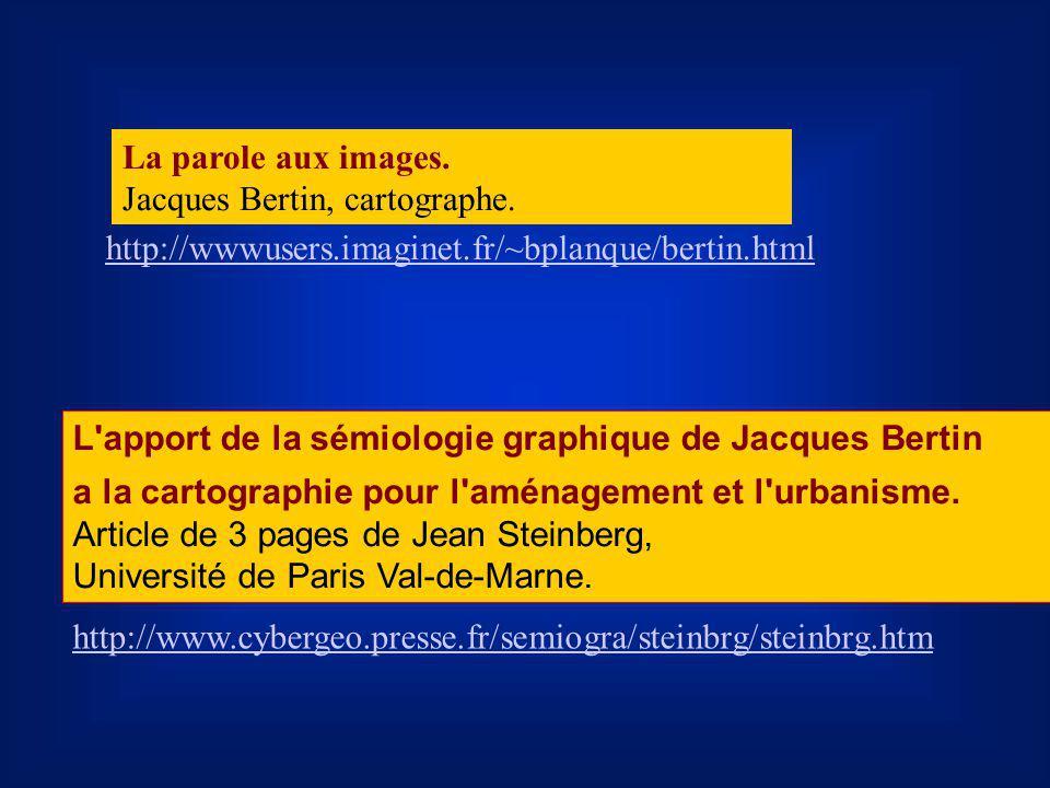 La parole aux images. Jacques Bertin, cartographe. http://wwwusers.imaginet.fr/~bplanque/bertin.html.