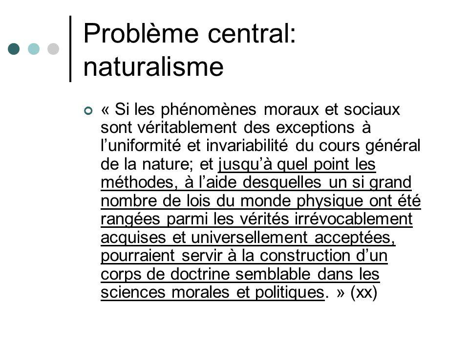 Problème central: naturalisme