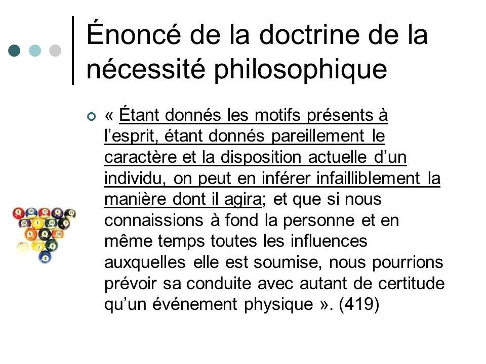 Énoncé de la doctrine de la nécessité philosophique