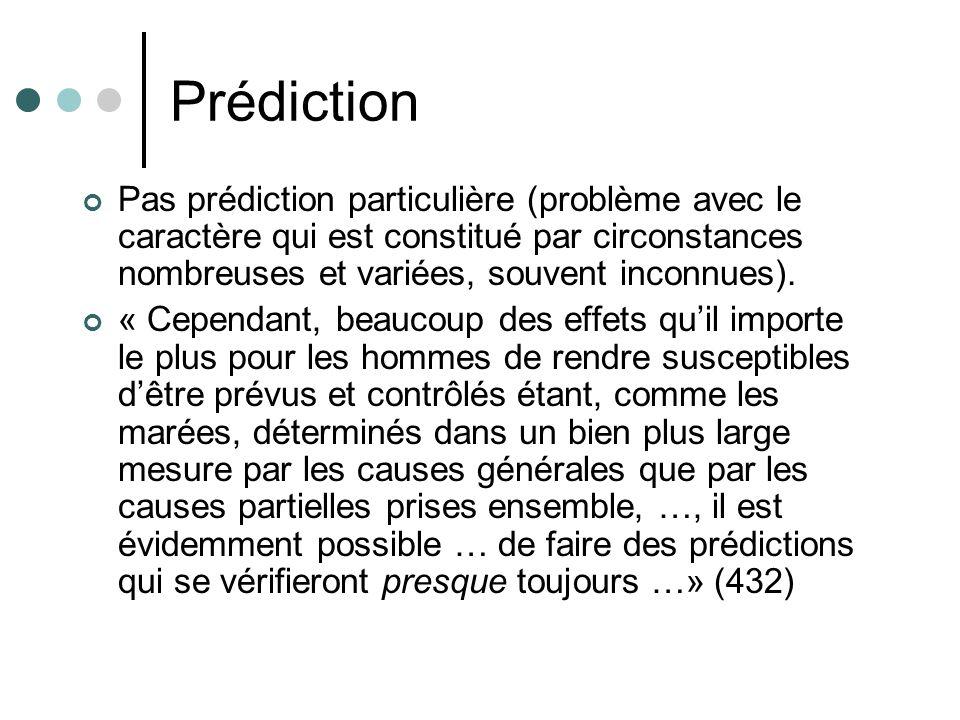 Prédiction Pas prédiction particulière (problème avec le caractère qui est constitué par circonstances nombreuses et variées, souvent inconnues).