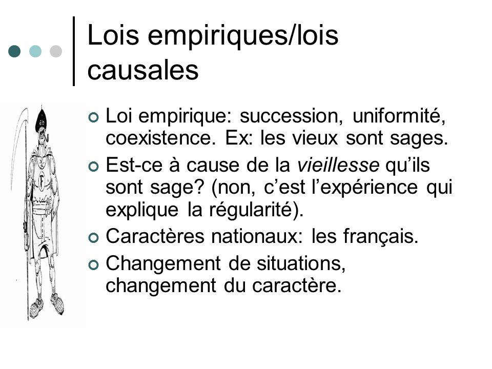 Lois empiriques/lois causales