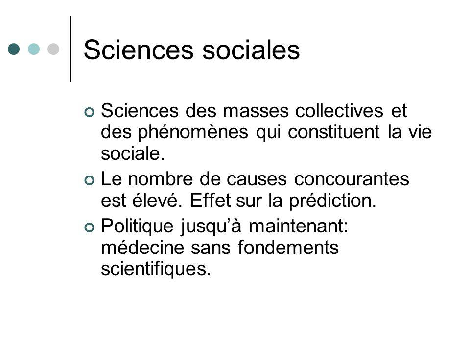 Sciences sociales Sciences des masses collectives et des phénomènes qui constituent la vie sociale.