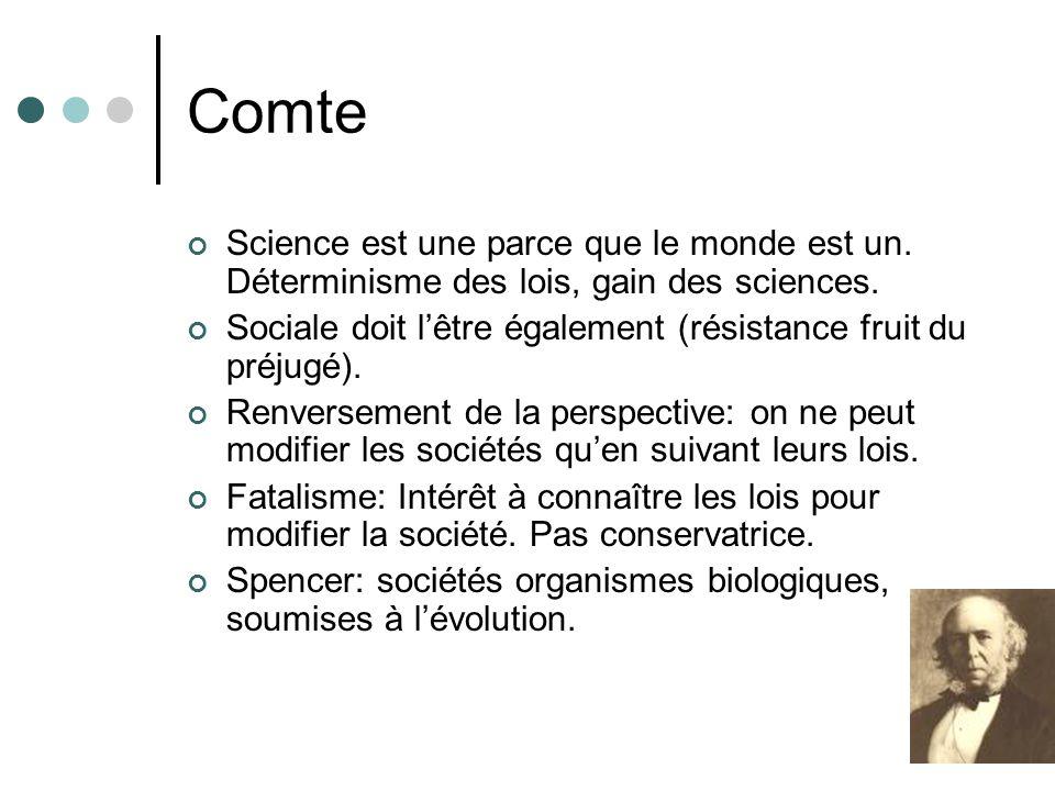 Comte Science est une parce que le monde est un. Déterminisme des lois, gain des sciences.