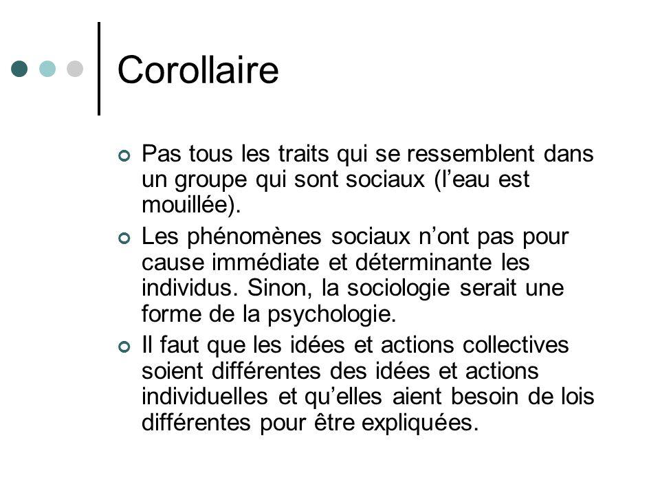 Corollaire Pas tous les traits qui se ressemblent dans un groupe qui sont sociaux (l'eau est mouillée).