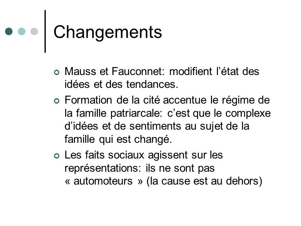 Changements Mauss et Fauconnet: modifient l'état des idées et des tendances.