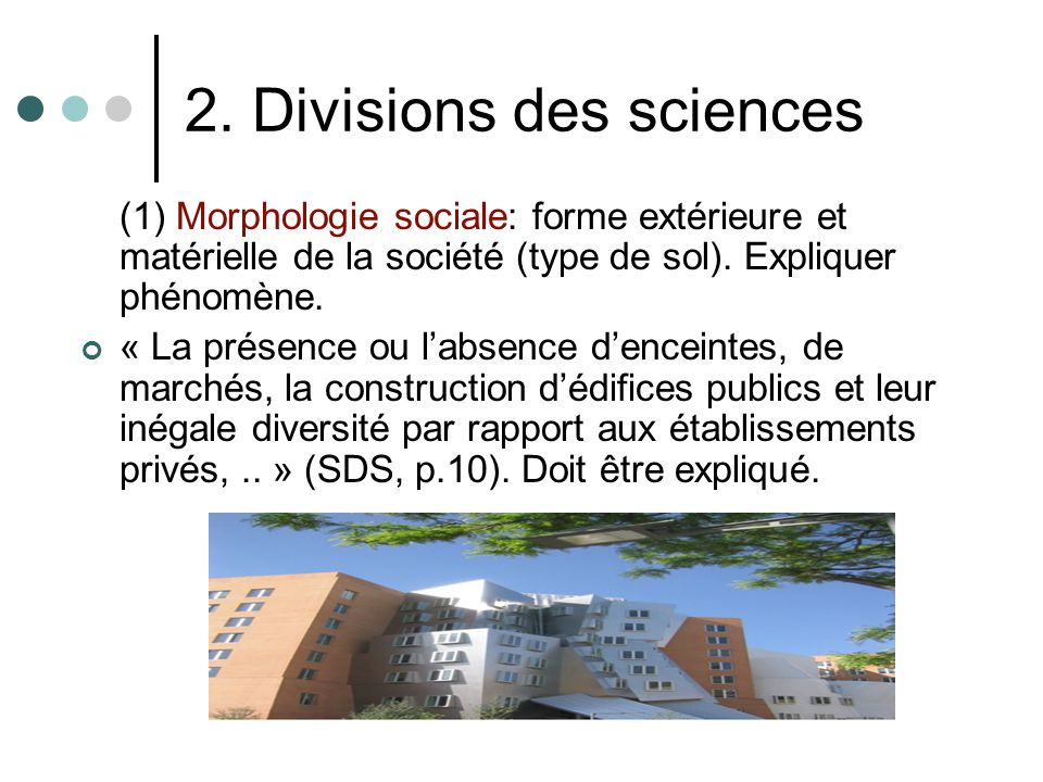 2. Divisions des sciences