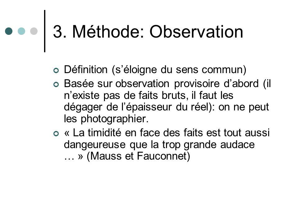 3. Méthode: Observation Définition (s'éloigne du sens commun)