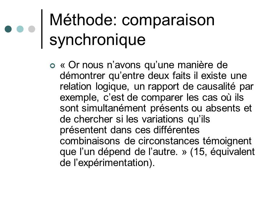 Méthode: comparaison synchronique