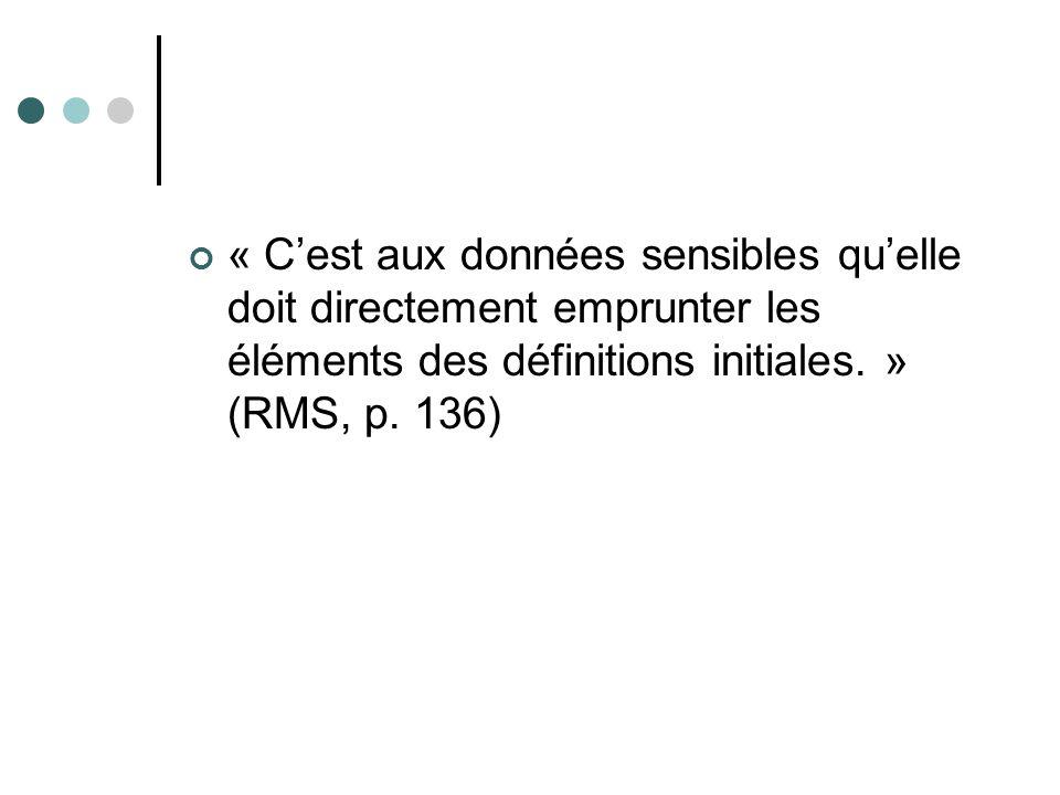 « C'est aux données sensibles qu'elle doit directement emprunter les éléments des définitions initiales. » (RMS, p.