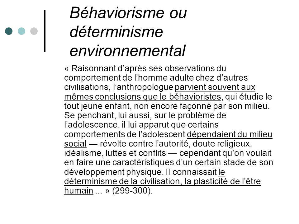 Béhaviorisme ou déterminisme environnemental