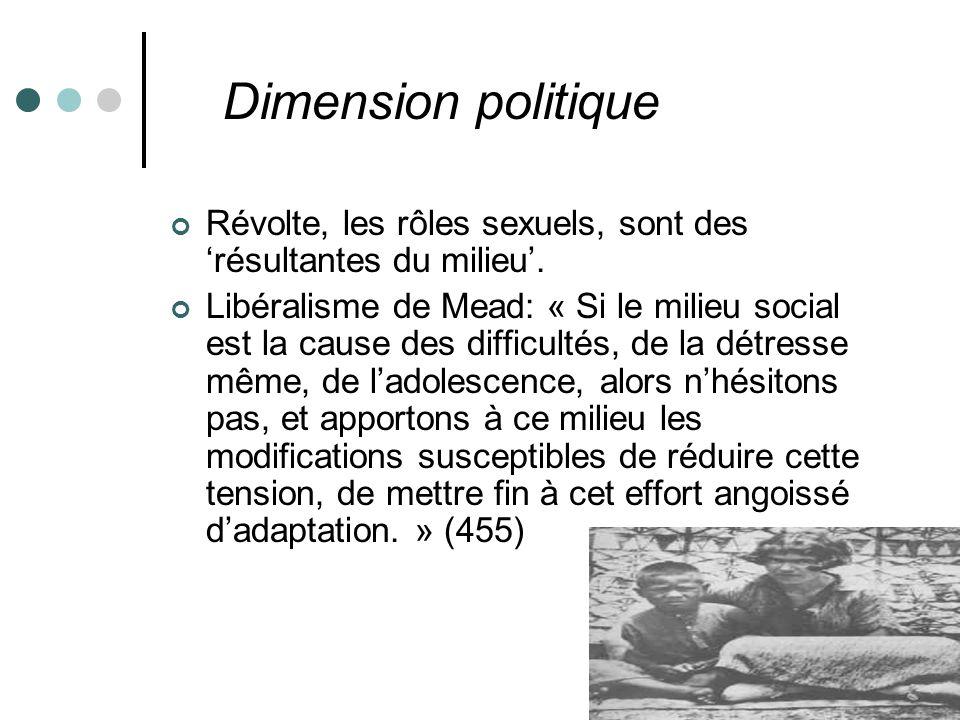 Dimension politique Révolte, les rôles sexuels, sont des 'résultantes du milieu'.