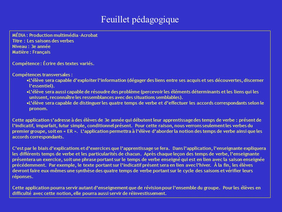 Feuillet pédagogique MÉDIA : Production multimédia -Acrobat