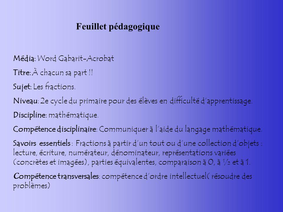 Feuillet pédagogique Média: Word Gabarit-Acrobat