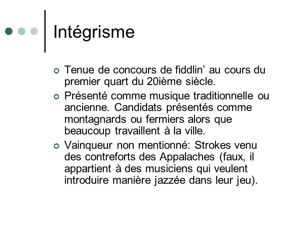 Intégrisme Tenue de concours de fiddlin' au cours du premier quart du 20ième siècle.