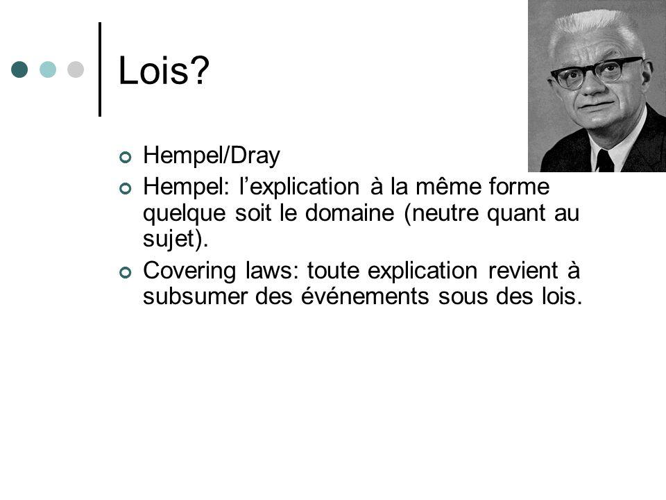Lois Hempel/Dray. Hempel: l'explication à la même forme quelque soit le domaine (neutre quant au sujet).