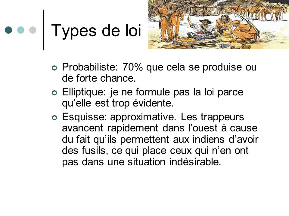 Types de loi Probabiliste: 70% que cela se produise ou de forte chance. Elliptique: je ne formule pas la loi parce qu'elle est trop évidente.