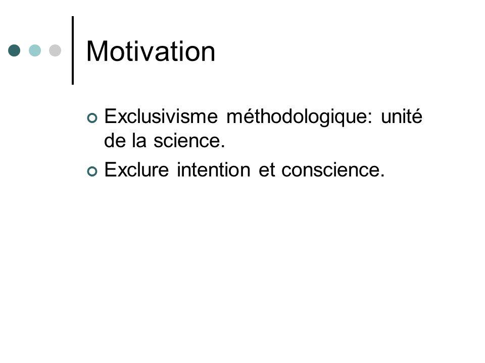 Motivation Exclusivisme méthodologique: unité de la science.