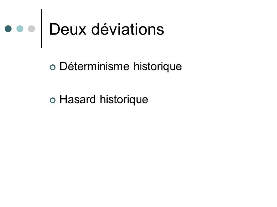 Deux déviations Déterminisme historique Hasard historique