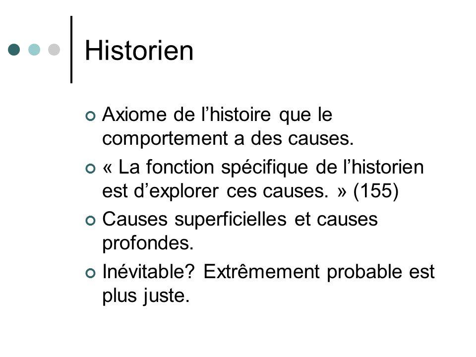 Historien Axiome de l'histoire que le comportement a des causes.