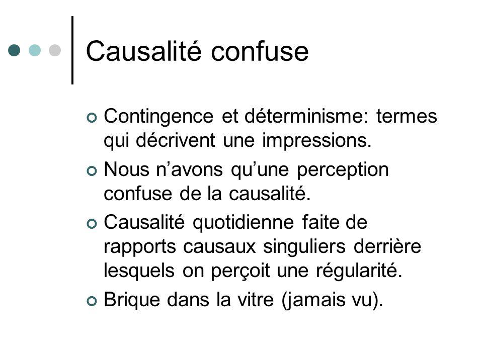 Causalité confuse Contingence et déterminisme: termes qui décrivent une impressions. Nous n'avons qu'une perception confuse de la causalité.