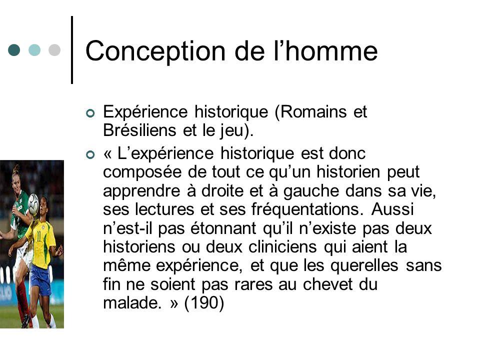 Conception de l'homme Expérience historique (Romains et Brésiliens et le jeu).