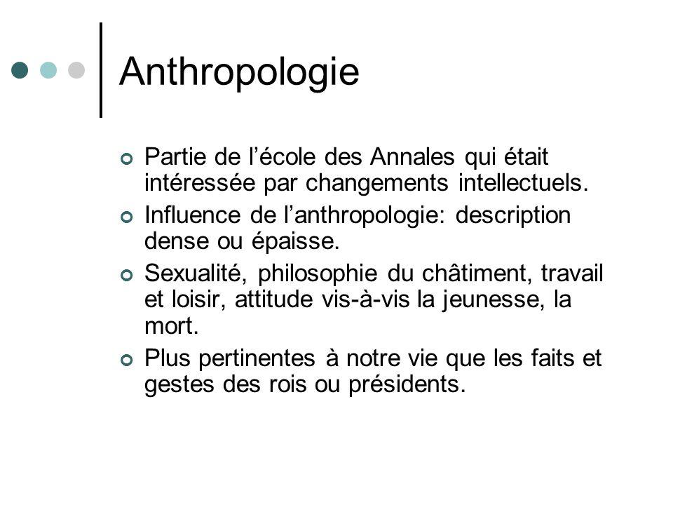 Anthropologie Partie de l'école des Annales qui était intéressée par changements intellectuels.