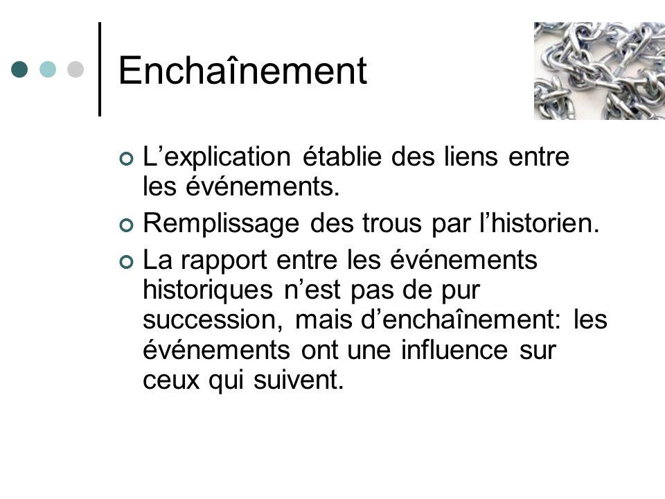 Enchaînement L'explication établie des liens entre les événements.