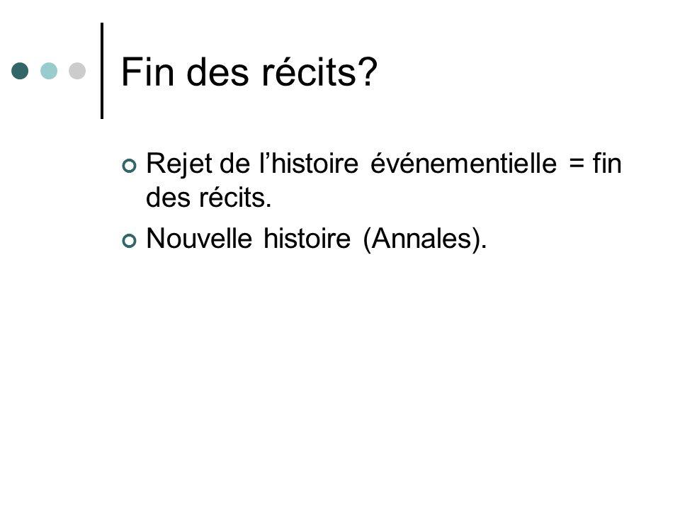 Fin des récits Rejet de l'histoire événementielle = fin des récits.
