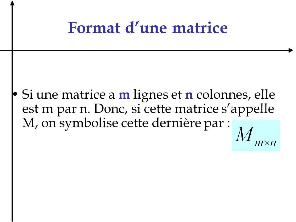 Format d'une matrice Si une matrice a m lignes et n colonnes, elle est m par n.