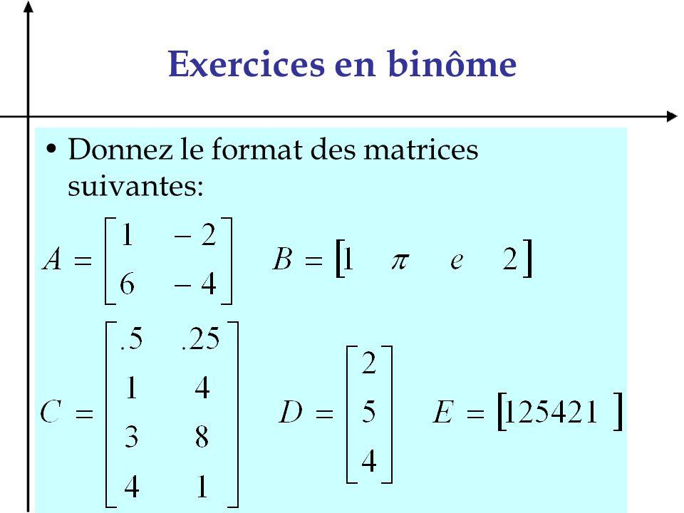 Exercices en binôme Donnez le format des matrices suivantes: